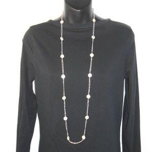 Premier Designs Flat Coin Faux Pearl Necklace